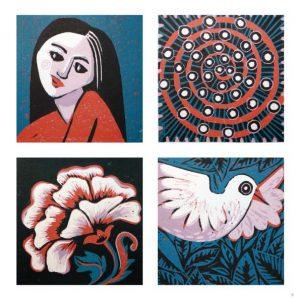 PATTERN, BIRD, GIRL, FLOWER