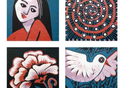 Pattern,Bird,Girl,Flower